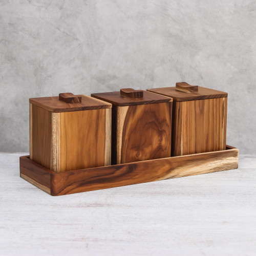 Teakwood Decorative Boxes from Thailand Set of 3 'Teak Treasure'