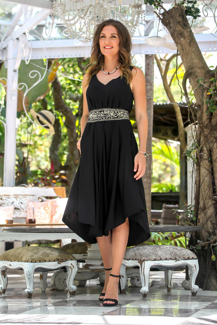 Floral Rayon A-Line Dress in Solid Black from Bali 'Midnight Path'