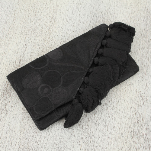 Black Handwoven Cotton Floral Motif Clutch Wallet Combo 'Dance at Midnight'