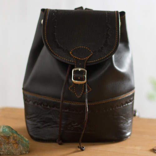 Handcrafted Leather Backpack in Black from Peru 'Machu Picchu Journey'
