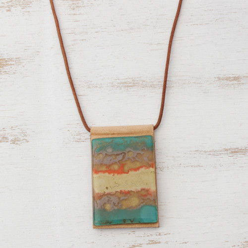 Layered Glass and Leather Pendant Necklace from Brazil 'Seaside'