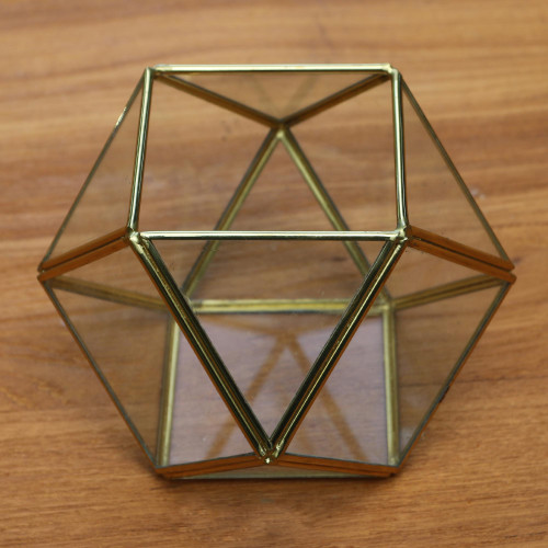 Geometric Glass and Brass Terrarium from Java 'Complex Shape'