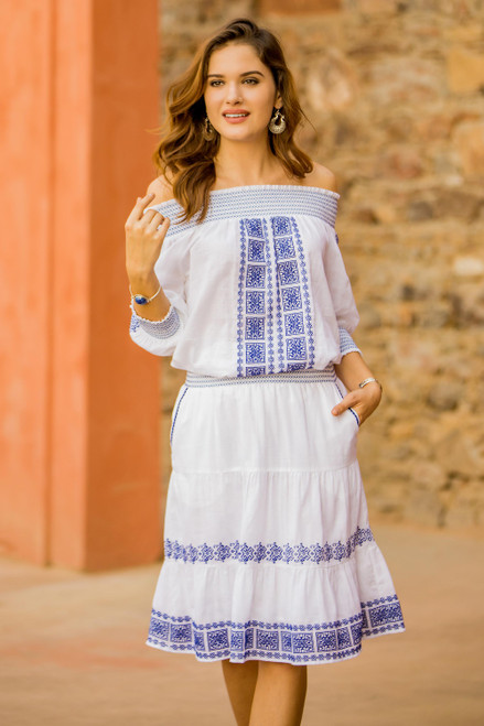 White Cotton Off-The-Shoulder Tunic with Moroccan Embroidery 'Moroccan Charm'