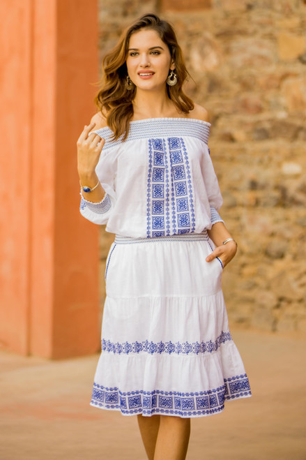 Embroidered Cotton Skirt in Lapis from India 'Moroccan Beauty'