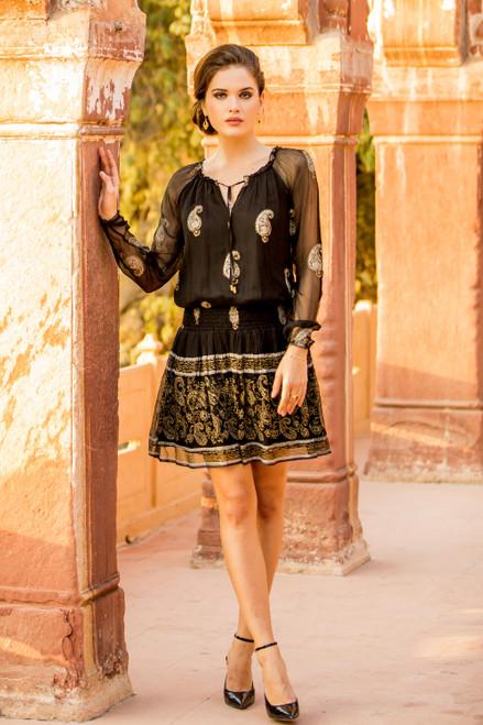 Block Printed Paisley Motif Viscose A-Line Dress from India 'Paisley Midnight'