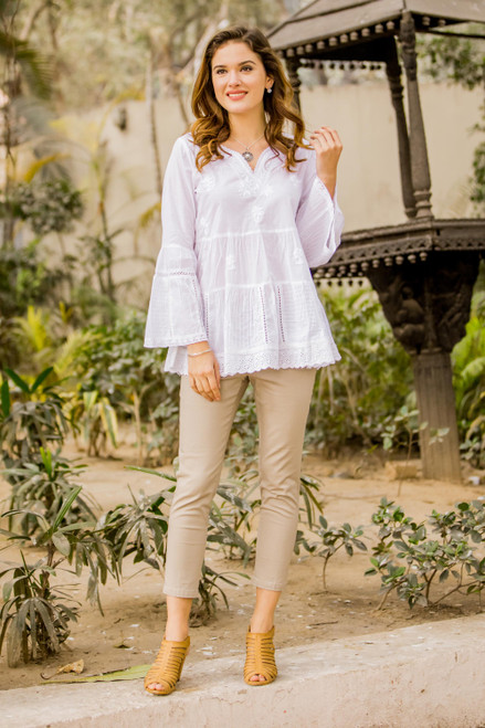 Floral Embroidered White Cotton Blouse from India 'Floral White'
