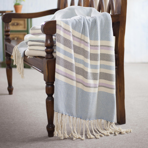 Handwoven Striped Cotton Throw from Peru 'Sweet Stripes'