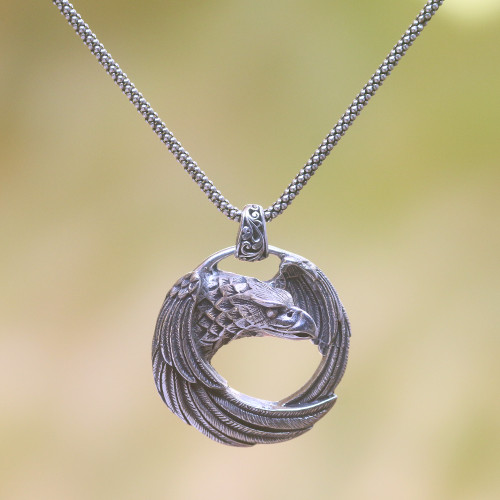 Sterling Silver Eagle Pendant Necklace from Java 'Buleleng Eagle'