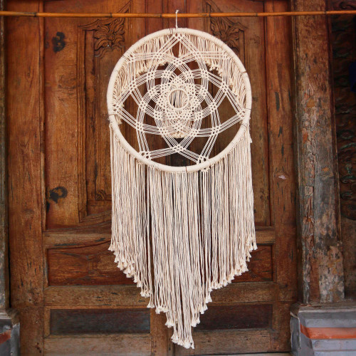 Circular Cotton Wall Hanging in Antique White from Bali 'Dream Knot'