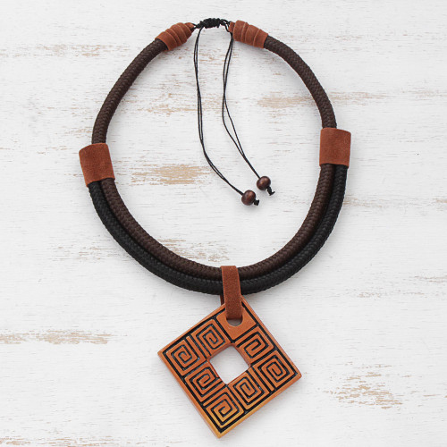 Adjustable Square Ceramic Pendant Necklace from Brazil 'Beautiful Labyrinth'