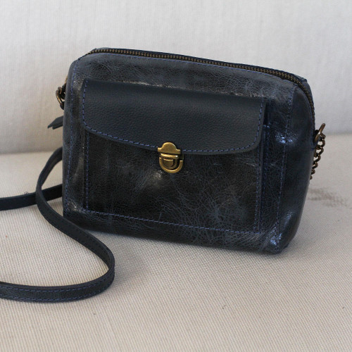 Handmade Leather Sling in Navy from Mexico 'Pretty Companion in Navy'