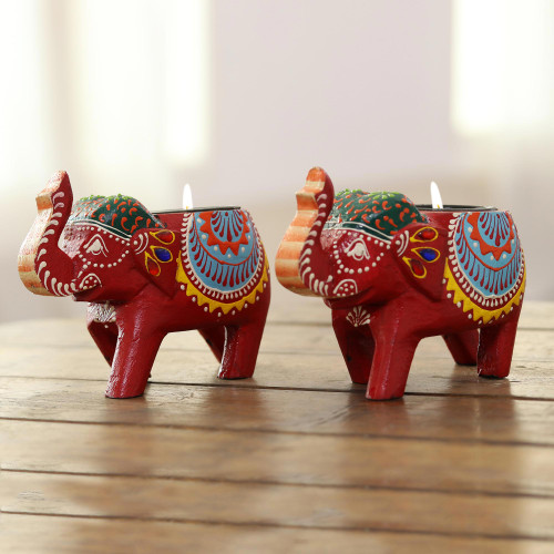 Mango Wood Elephant Tealight Holders in Red Pair 'Royal Light in Red'