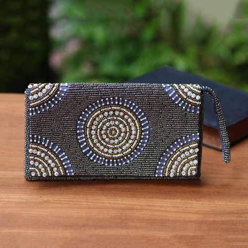 Circle Pattern Beaded Clutch in Grey from Bali 'Circle of Beauty in Grey'