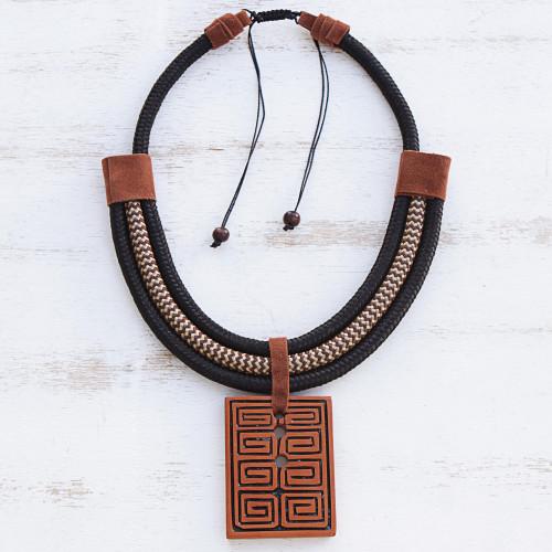 Rectangular Ceramic Pendant Necklace from Brazil 'Rectangular Labyrinth'