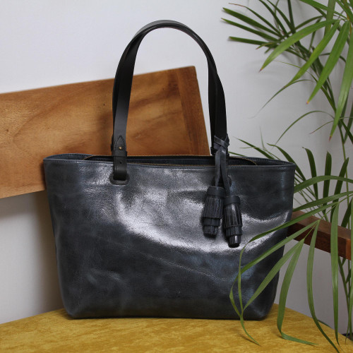 Handcrafted Leather Shoulder Bag in Black from Mexico 'Beautiful Elegance in Black'