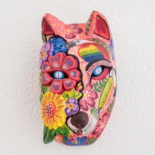 Hand-Painted Floral Wood Wolf Mask from Guatemala 'Guatemalan Marvels'