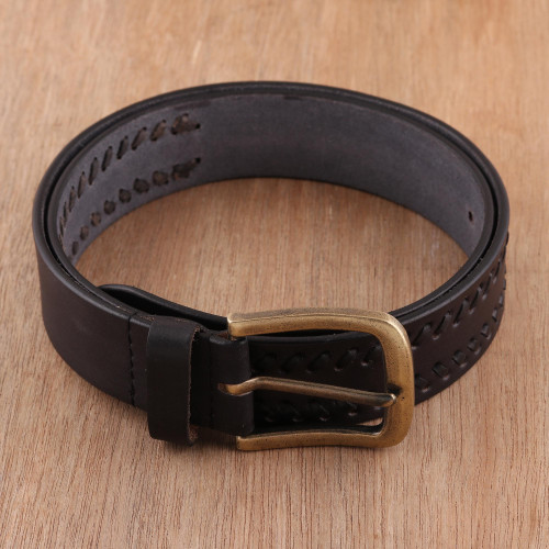 Men's Patterned Leather Belt in Onyx from India 'Onyx Weave'