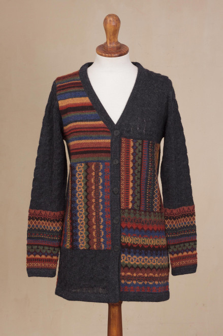 Cable Knit 100 Alpaca Cardigan in Graphite from Peru 'Patchwork in Graphite'