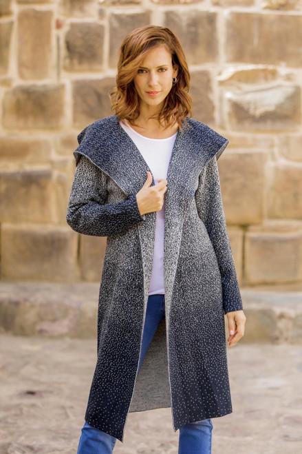 Knit Ombre Alpaca Blend Long Cardigan from Peru 'Peruvian Sky'