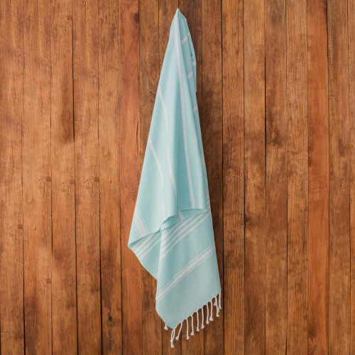 Striped Cotton Beach Towel in Mint from Guatemala 'Sweet Relaxation in Mint'