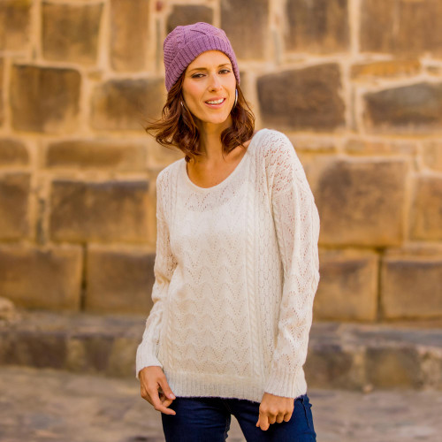 Cable Knit Baby Alpaca Blend Pullover in Ivory from Peru 'Warm Charm'