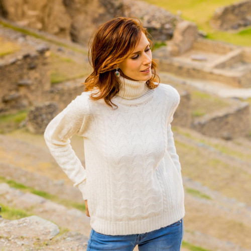 Cable Knit Turtle Neck Baby Alpaca Blend Pullover from Peru 'Warm Sweetness'