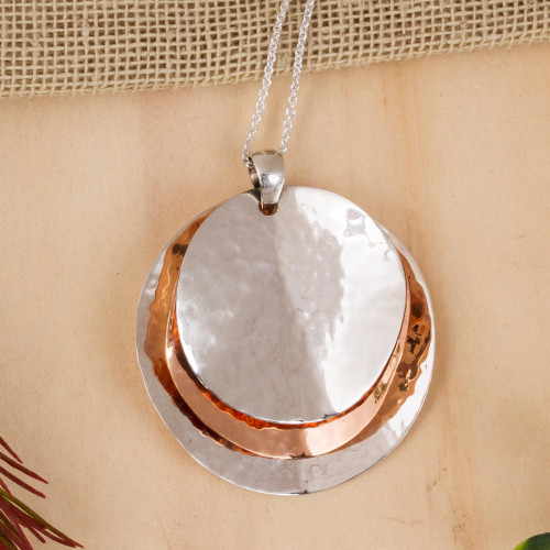 Modern Taxco Sterling Silver and Copper Pendant Necklace 'Light of the Afternoon'