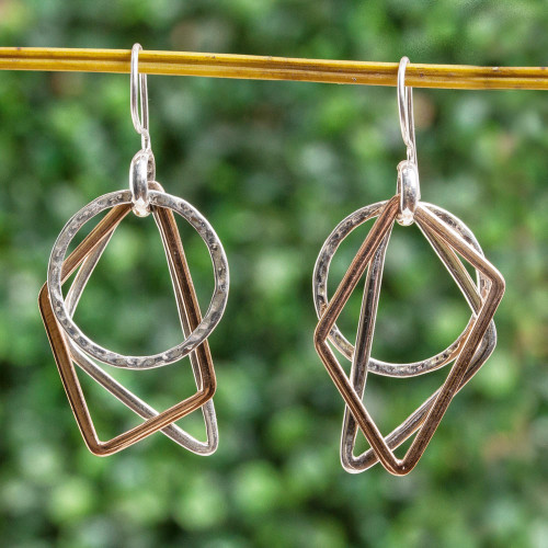 Geometric Sterling Silver and Copper Dangle Earrings 'Geometric Trio'