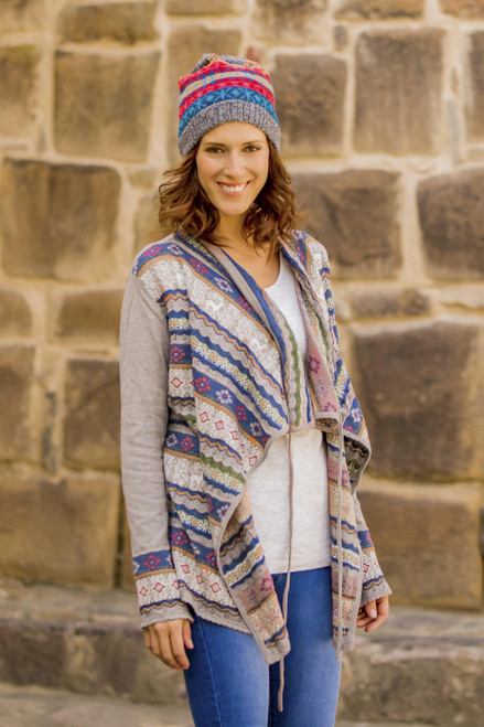 Cotton and Acrylic Blend Cardigan from Peru 'Sacred Valley'