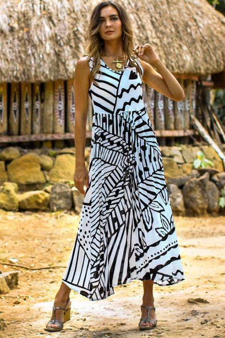 Onyx and Eggshell Rayon A-Line Dress from Bali 'Black and White Jungle'