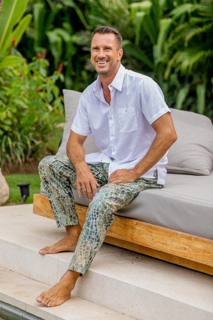 Verdant Hand-Printed Cotton Pants from Bali 'Forest Pebbles'