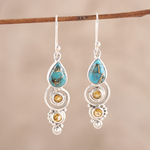 Citrine and Composite Turquoise Dangle Earrings from India 'Glistening Curl'