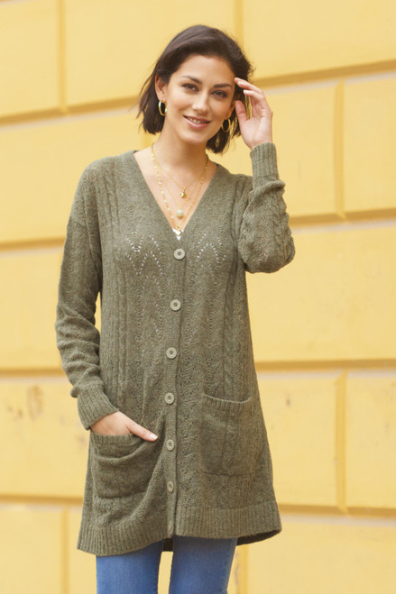 Cable Knit Baby Apaca Blend Cardigan in Olive from Peru 'Comfortable Charm in Olive'