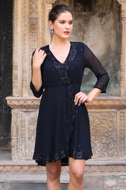 Embellished Viscose Dress from India 'Georgette Glamour'