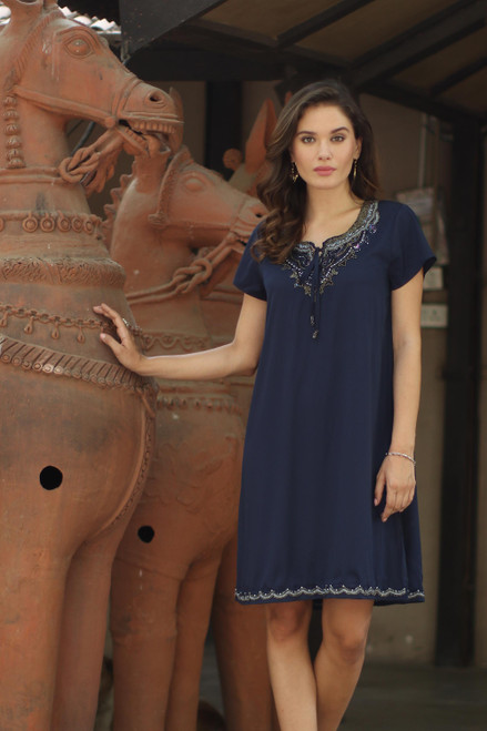 Glass Beaded Tunic-Style Dress from India 'Jaipur Glamour'