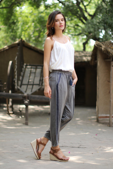 Dusty Grey Viscose Pants with Navy Stripes from India 'Navy Sophistication'