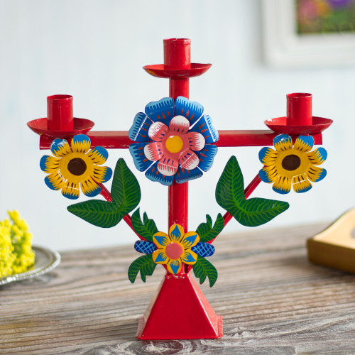 Floral Recycled Metal Candelabra in Red from Peru 'Margarita Temple in Red'