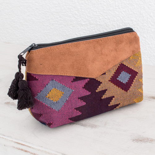 Geometric Cotton Cosmetic Bag with Faux Leather Accent 'Geometric Femininity'