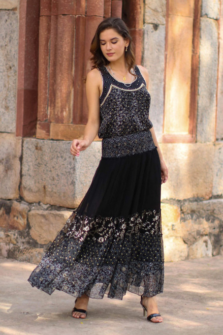 Floral Block-Printed Viscose Maxi Skirt from India 'Midnight Glory'