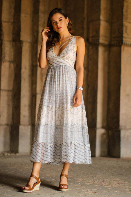 Block-Printed White Cotton A-Line Dress from Bali 'Elegant Forest'