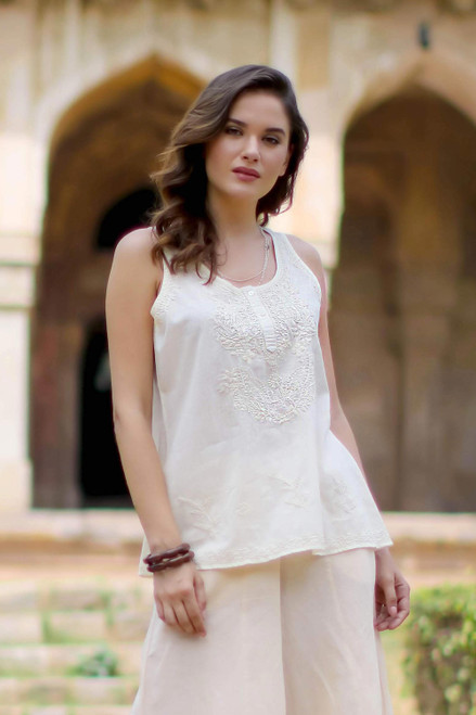 Ivory Sleeveless Cotton Top with Chikankari Embroidery 'Casual Elegance'