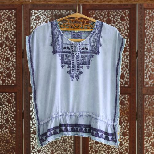 Light Blue Embroidered Viscose Blouse 'Jaipur Chic'