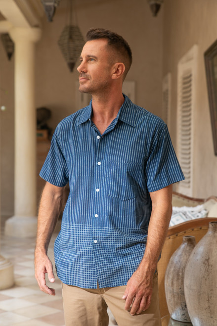 Men's Block-Printed Cotton Shirt Crafted in India 'Handsome Stripes'