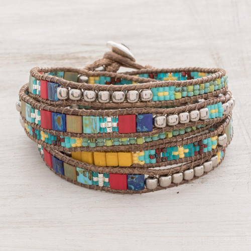 Colorful Blue Red and Green Glass Bead Wrap Bracelet 'Field of Celebration'