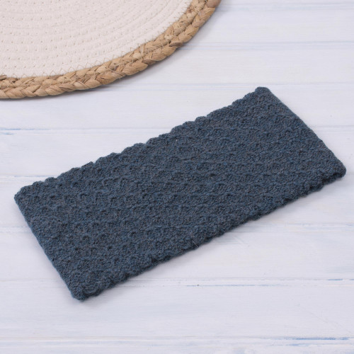 Wave Pattern 100 Baby Alpaca Headband in Teal from Peru 'Passionate Waves in Teal'