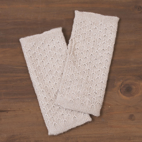 Patterned 100 Baby Alpaca Fingerless Mitts in Ivory 'Passionate Pattern in Ivory'