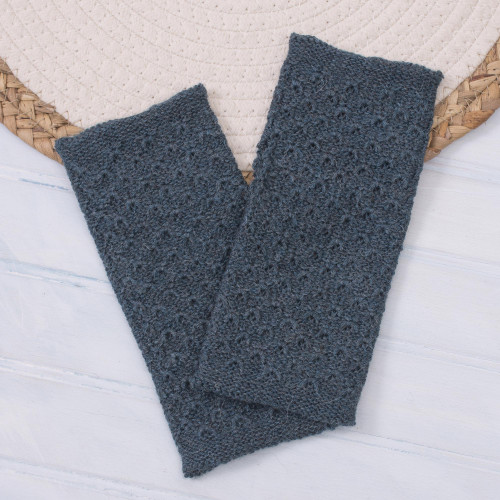 Patterned 100 Baby Alpaca Fingerless Mitts in Teal 'Passionate Pattern in Teal'