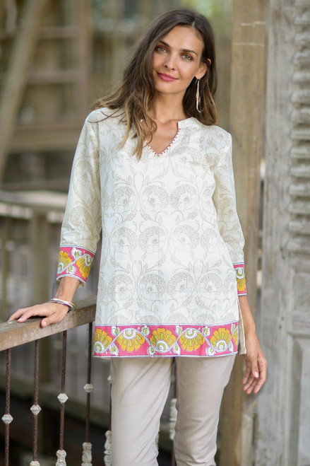 Floral Printed Cotton Tunic in Multicolor from India 'Madhubani Summer'
