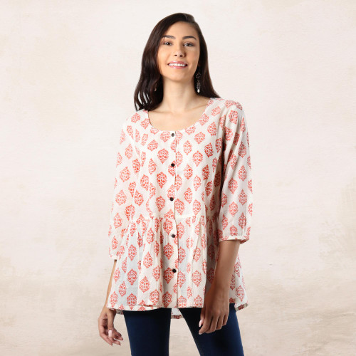 Printed Cotton Blouse in Salmon from India 'Sweet Honeysuckle'