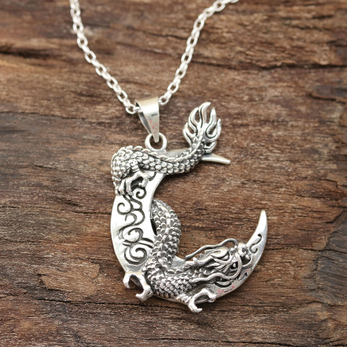 Dragon Crescent Sterling Silver Pendant Necklace from India 'Dragon Crescent'